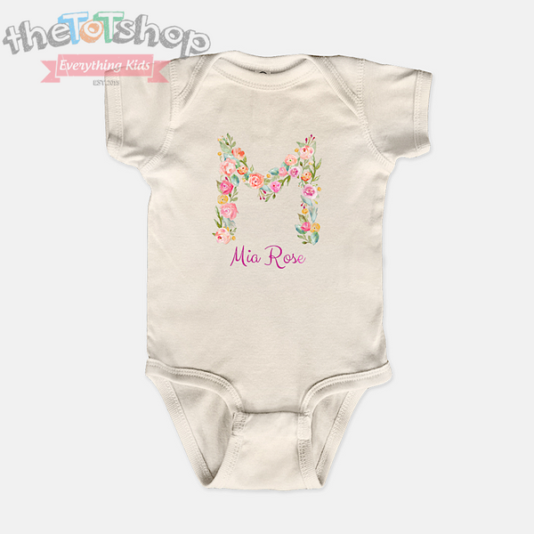 """Floral Letter"" Girls Custom Name 100% Cotton Bodysuit"
