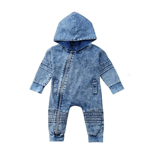 "Hooded ""Washed-Out"" Denim Onesie"