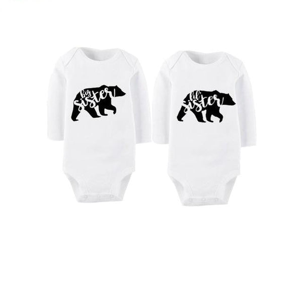 """Big Sis, Lil' Sis Bears"" Long-sleeve Twin Bodysuits"