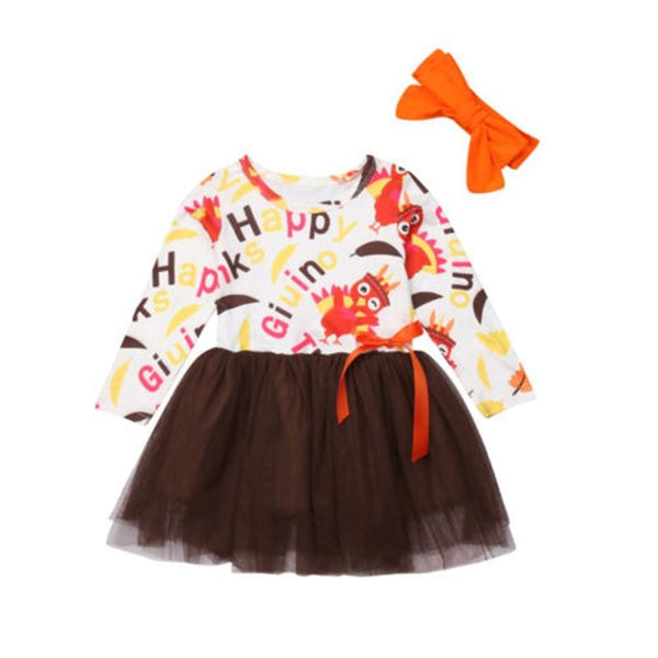 "Girls ""Happy Thanksgiving"" Tulle Dress and Headband"