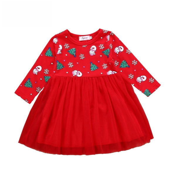 "Girls ""Christmas Tree"" Print Tulle Dress"