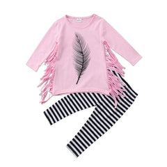 "2- Piece ""Feather"" Tasseled Shirt and Striped Pants"