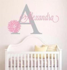 "Custom Name ""Monogram"" Girls Wall Decal"