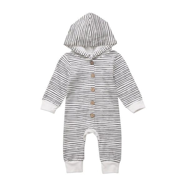 """Buttons and Stripes"" Hooded Romper"
