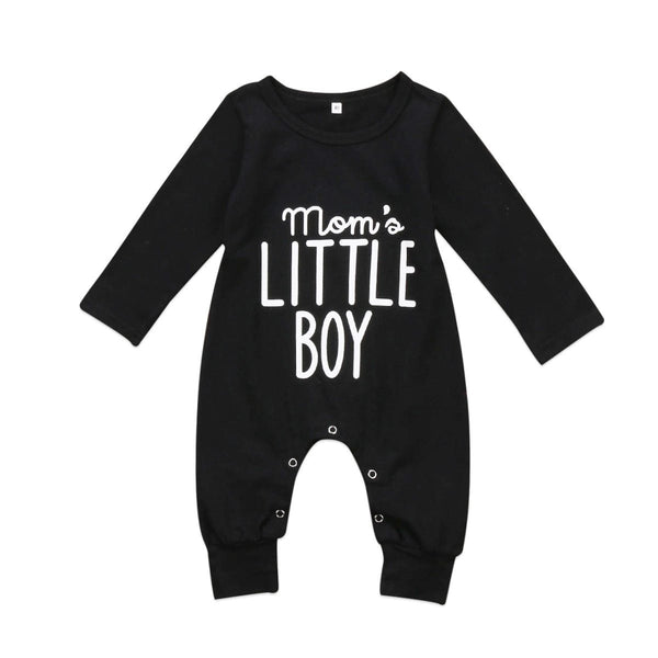 """Mom's Little Boy"" Black Baby Onesie"