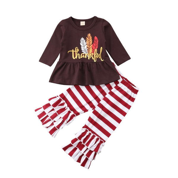 "Girls ""Thankful"" 2-Piece Thanksgiving Set"