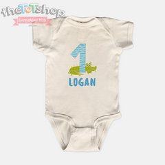 """Alligator 1"" Boys Custom Name 100% Cotton Bodysuit"