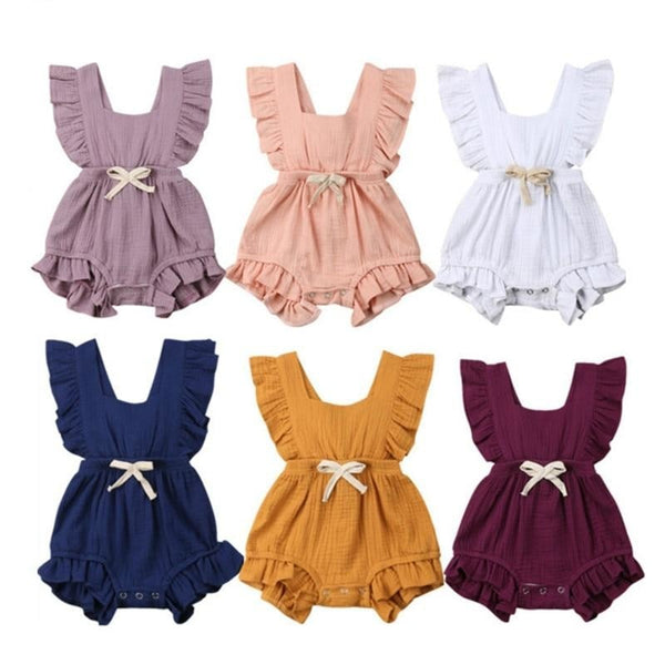 """Belts and Ruffles"" Sleeveless Summer Romper"