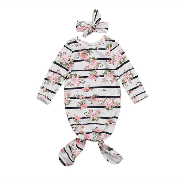 "2 Piece ""Floral-Stripes"" Sleep-sack Gown Set"