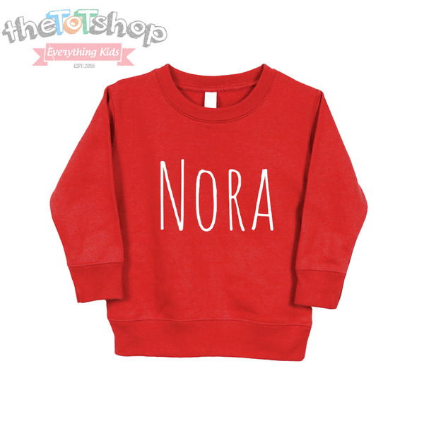 """The Nora"" Custom Name Toddler Sweatshirt"