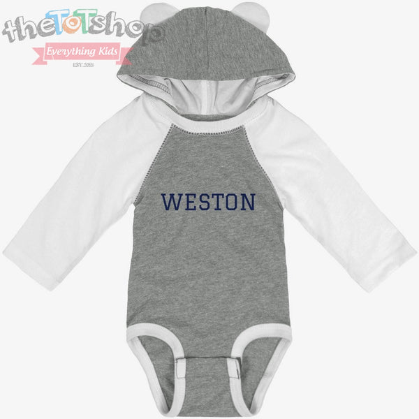 """The Weston"" Custom Name Bear Onesie"