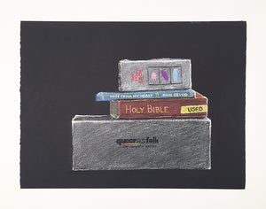 "Jeffrey Augustine Songco's ""Books and DVDs,"" Chalk-pastel on paper drawing"