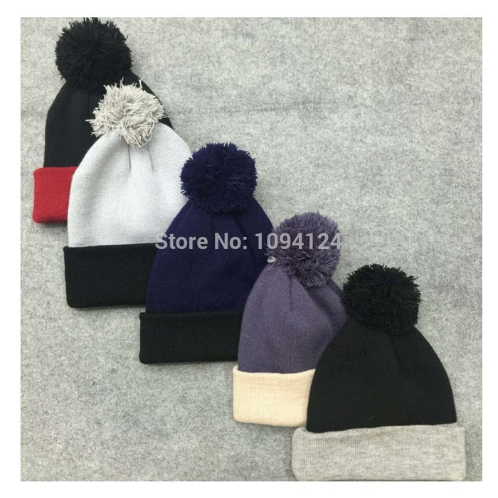 4fb79f4c6b8 50PCS A lot Customised Beanies knitted Hats embroidery LOGO custom Winter  Skullies with ball Adults Patch