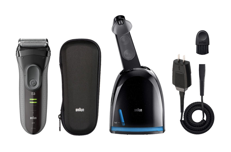 Braun Series 3 ProSkin 3070cc Electric Shaver w/ Clean and Charge Station and Bonus Ear and Nose Trimmer