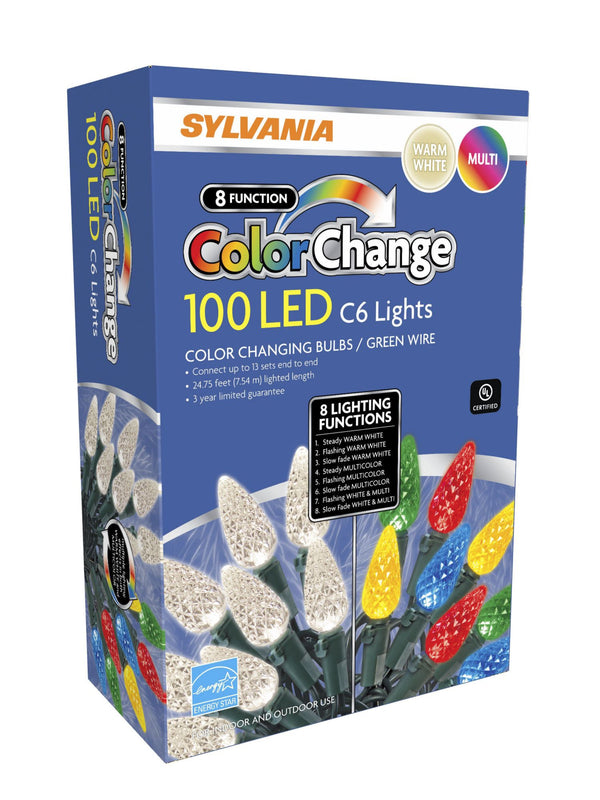 Sylvania 8-Function Color Changing C6 LED Lights. 100 ct.
