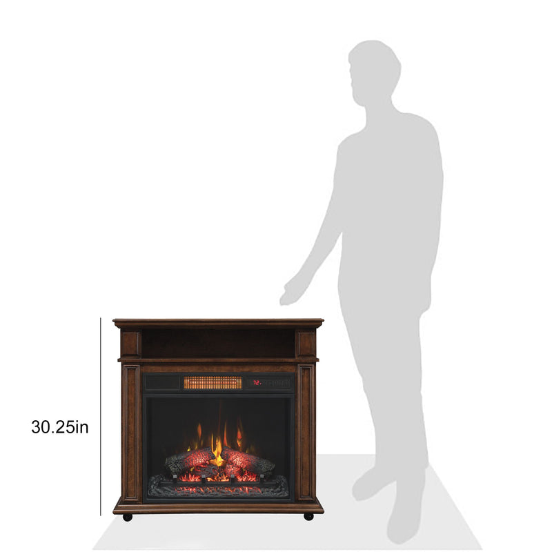 Duraflame Infragen Rolling Mantel Electric Fireplace - Walnut Brown
