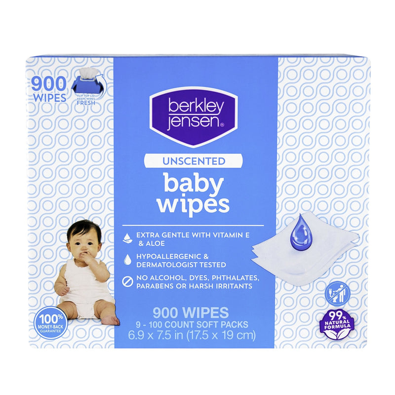 Berkley Jensen Unscented Baby Wipes 9 pk./100 ct.
