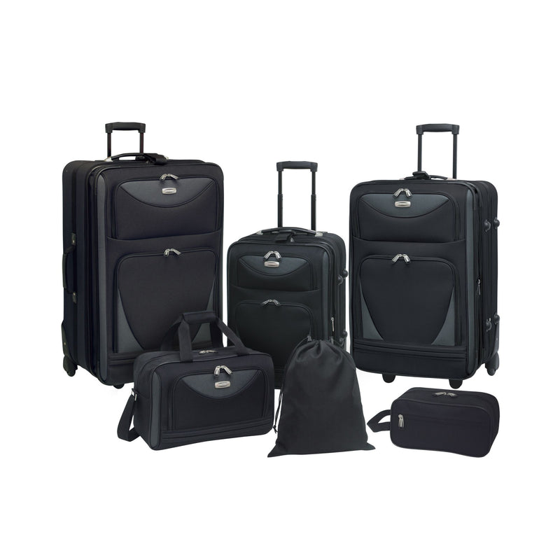 Travelers Club 6-Pc. Expandable Luggage Set - Black