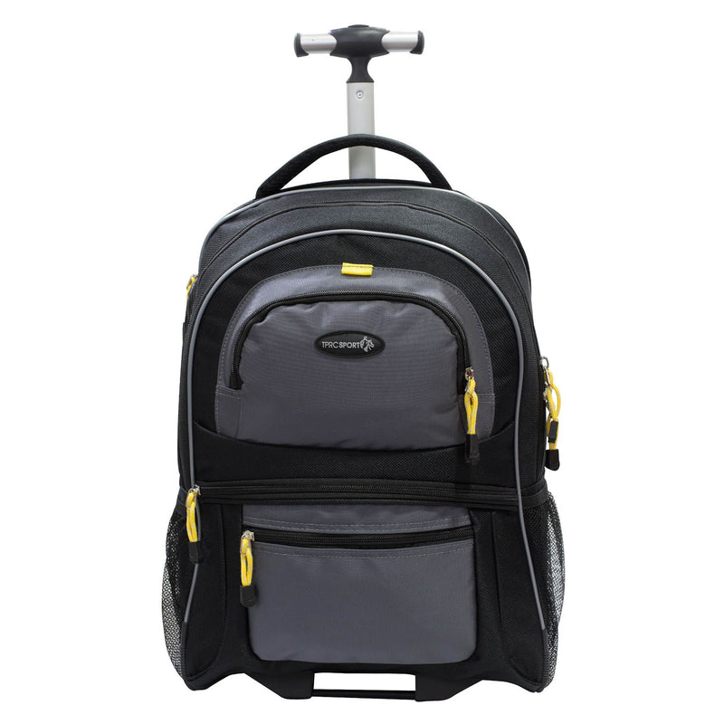 "Travelers Polo & Racquet Club 19"" Rolling Laptop Backpack - Black and Gray"