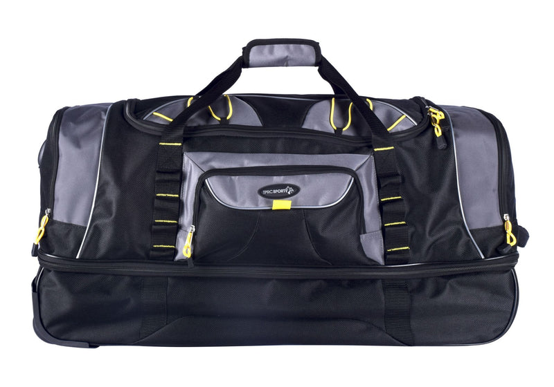 "Travelers Polo & Racquet Club 30"" 2-Section Rolling Duffel - Black and Gray"