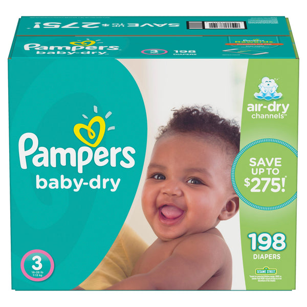 Pampers Baby Dry Diapers Size 3 198 ct.
