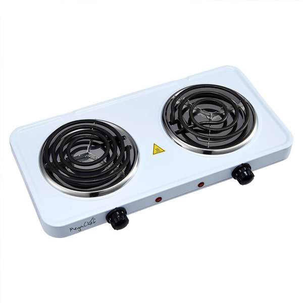 MegaChef Electric Easily Portable Ultra Lightweight Dual Coil Burner Cooktop Buffet Range - White