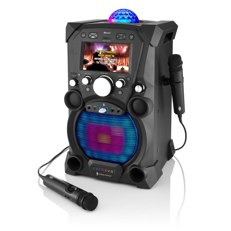 Singing Machine Carnaval Portable Hi-Def Karaoke System w/ Built-in Color Monitor and Microphone-Remote Control