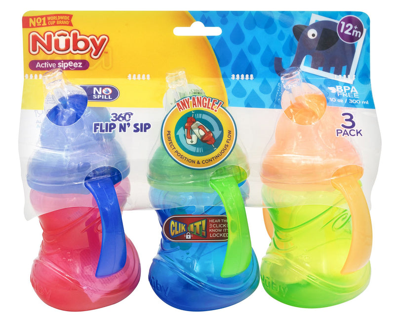 Nuby Flip N' Sip Cups w/ Weighted Straws 3 ct.