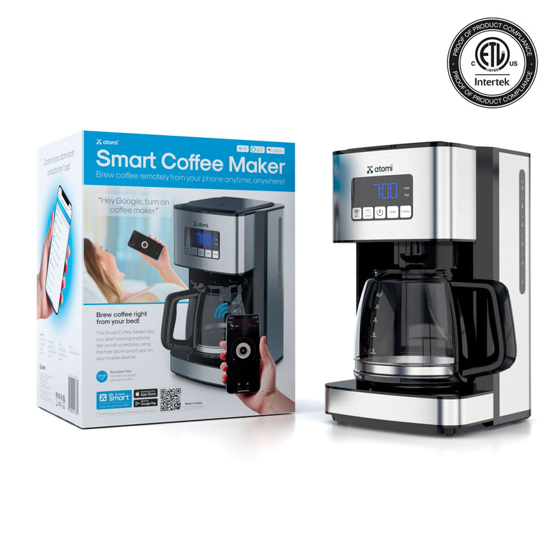 Atomi 12-Cup Smart Wi-Fi Coffee Maker - Stainless Steel