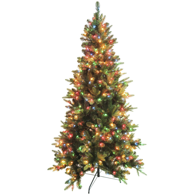 7' Blue Fir Artificial Christmas Tree w/ 500 Multi-Color Lights