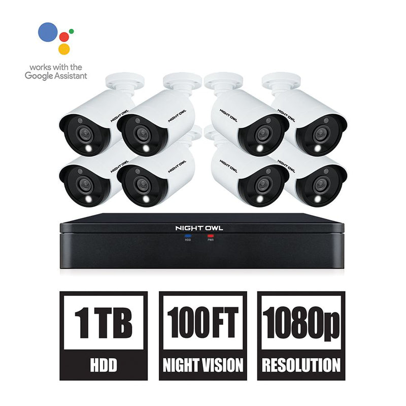Night Owl 8-Channel 8-Camera 1080p Security System w/ 1TB HDD DVR
