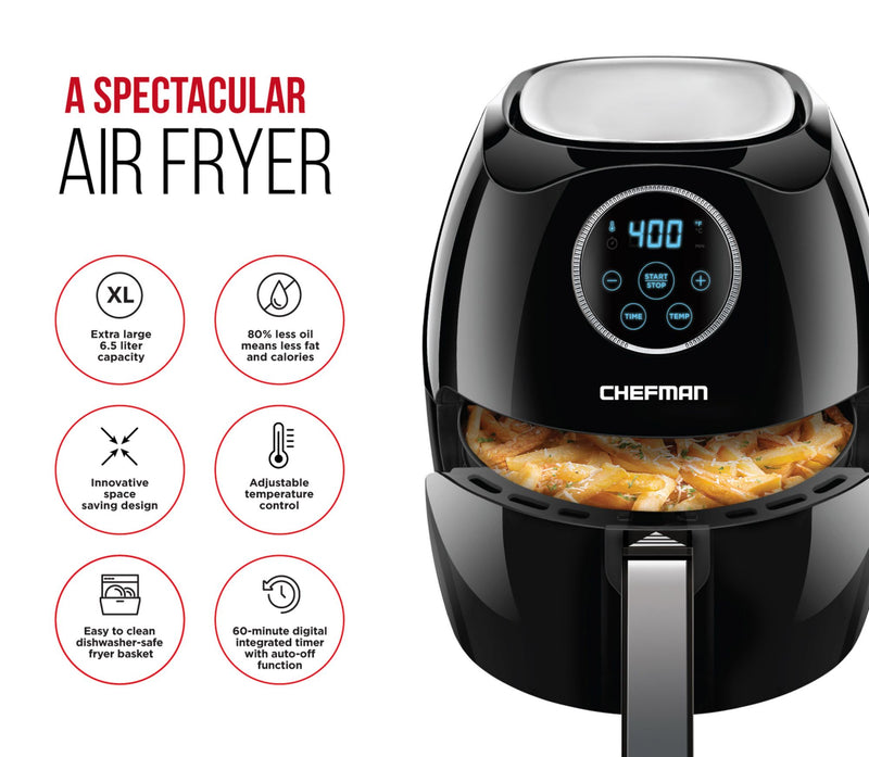 Chefman 6.5L Digital Air Fryer w/ Space Saving Flat Basket - Black
