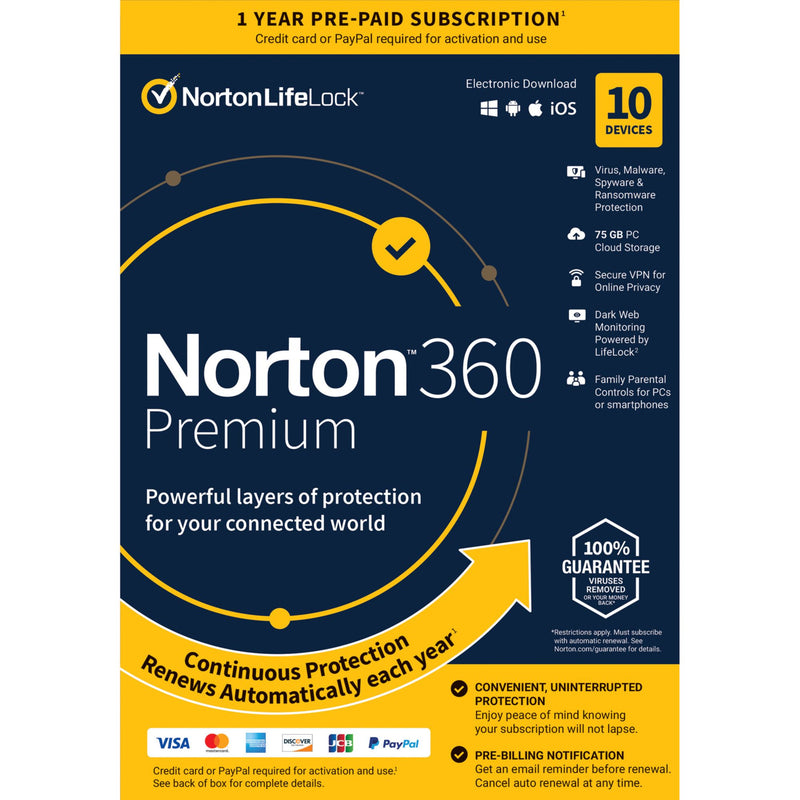 Norton 360 Premium for All Devices 10 Devices 1-Year Subscription