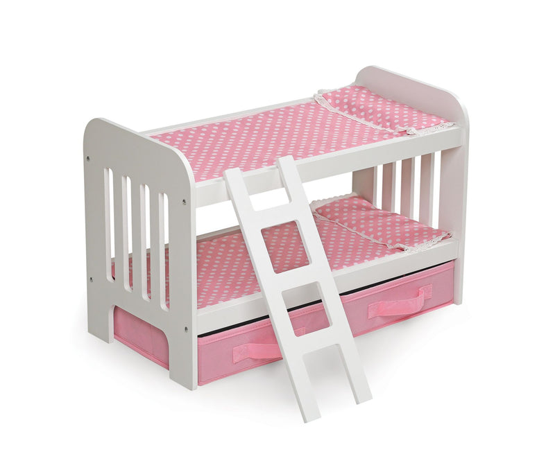 Badger Basket Doll Bunk Bed w/ Ladder and Two Storage Baskets - Pink/Polka Dot