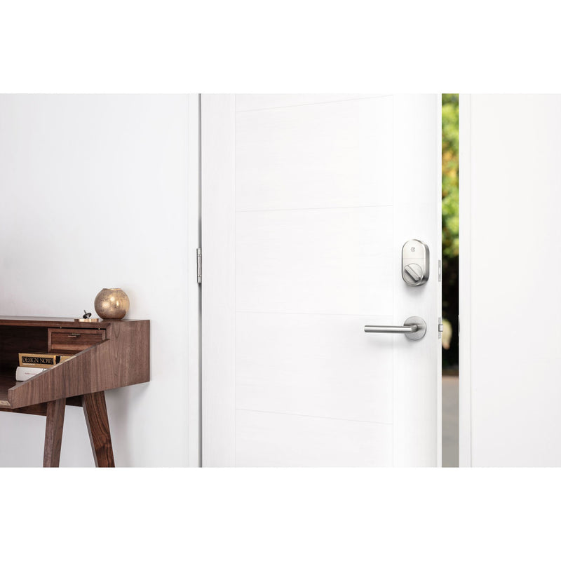 August Smart Lock  Connect Wi-Fi Bridge-Works w/ Amazon Alexa and Google Assistant - Satin Nickel