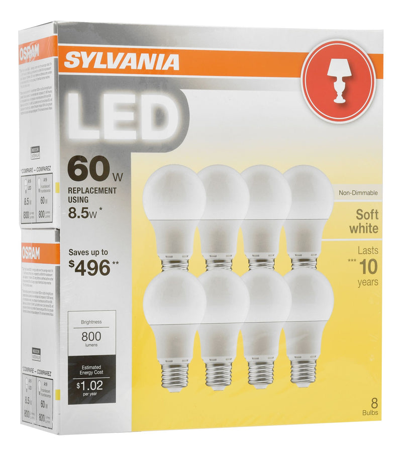 Sylvania 60W Equivalent LED A19 Lamp Light Bulb 8 pk. - Soft White