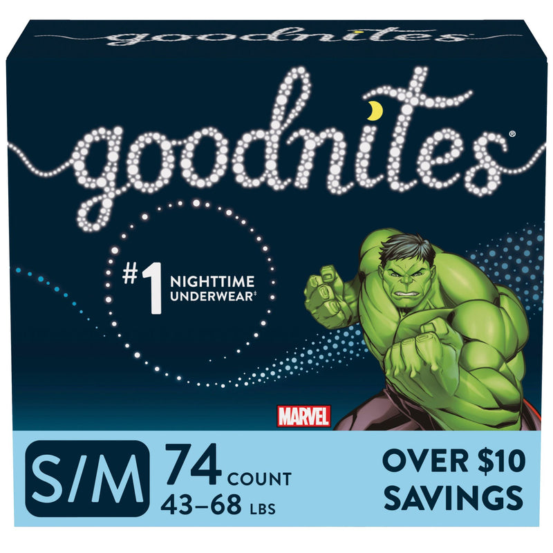 GoodNites Bedtime Bedwetting Underwear for Boys Size S/M 74 ct.