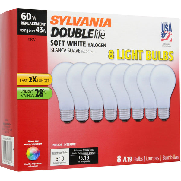 Sylvania 60W Replacement Halogen A19 Light Bulb 8 pk. - Soft White