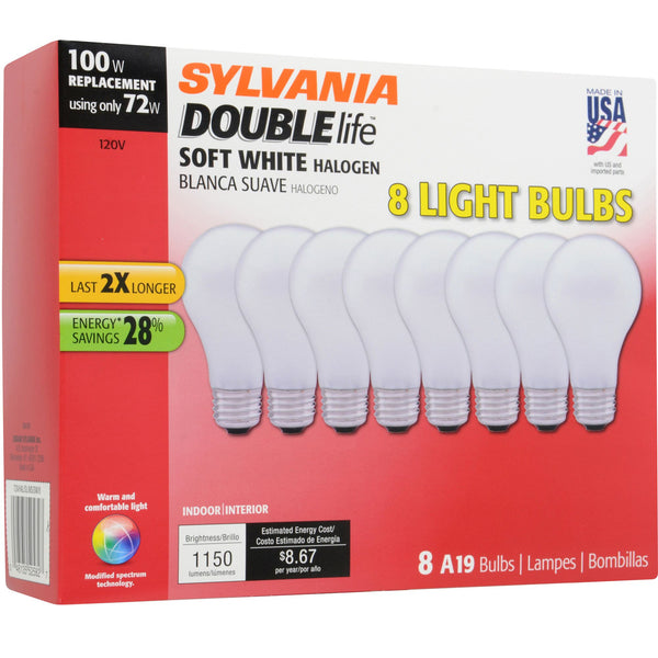 Sylvania 100W Replacement Halogen A19 Light Bulb 8 pk. - Soft White