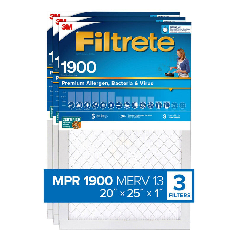 "Filtrete 20"" x 25"" x 1"" Ultimate Allergen Reduction Filters 3 pk."