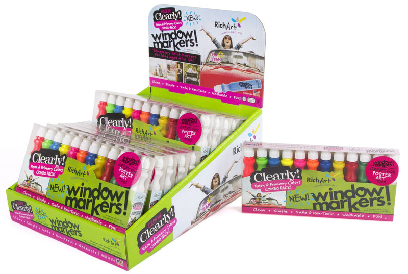 Rich Art Color Me Clearly Window Markers 12 ct. - Neon and Primary Colors