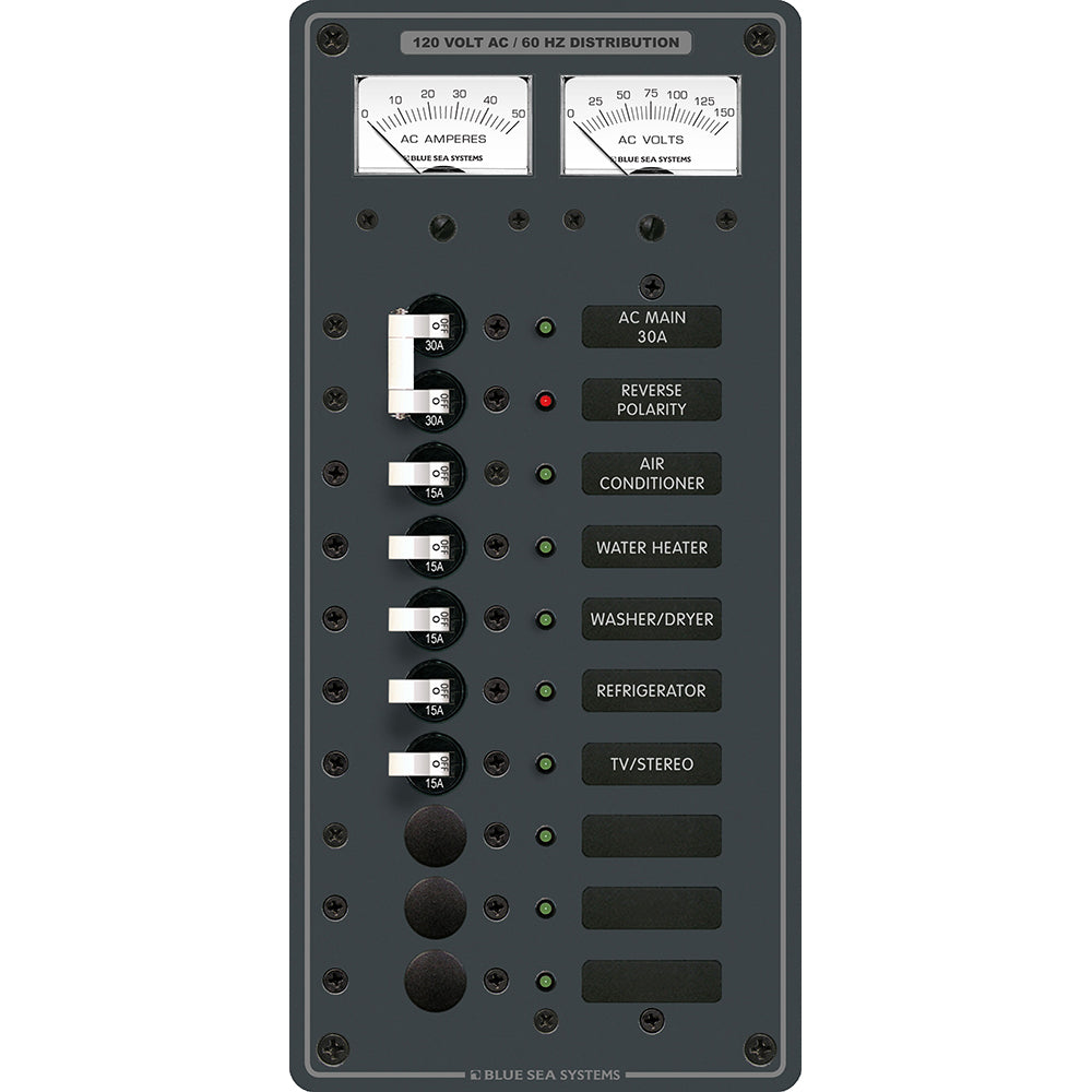 Blue Sea 8074 AC Main +8 Positions Toggle Circuit Breaker Panel - White Switches