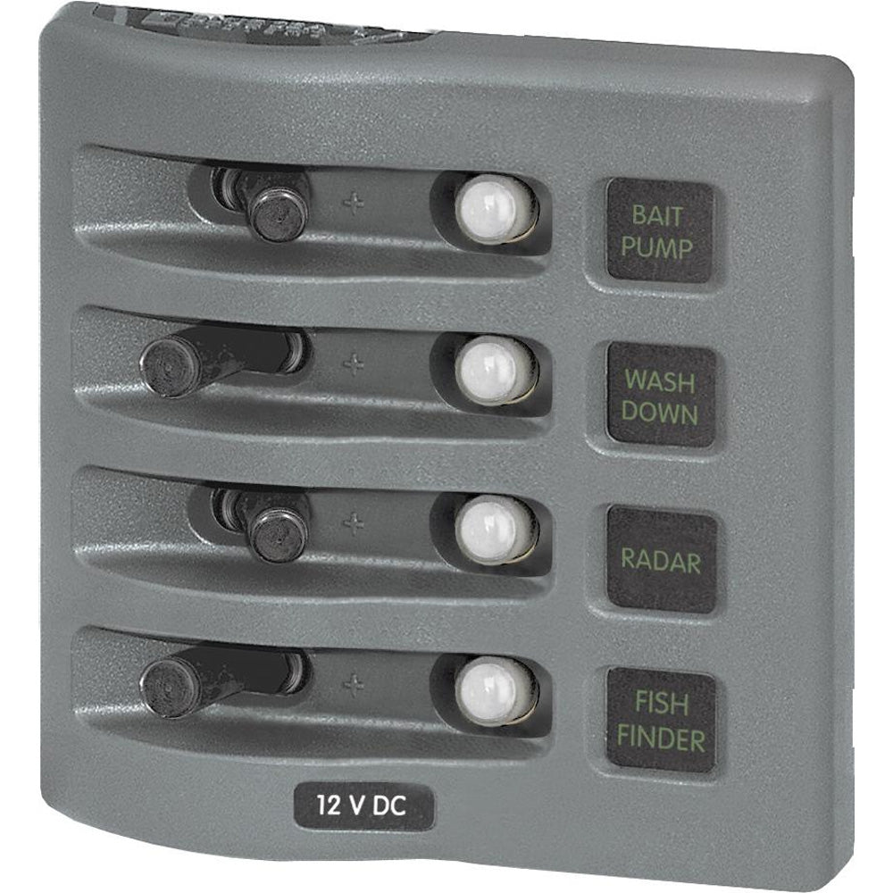 Blue Sea 4374 WeatherDeck Water Resistant Circuit Breaker Panel - 4 Position - Grey