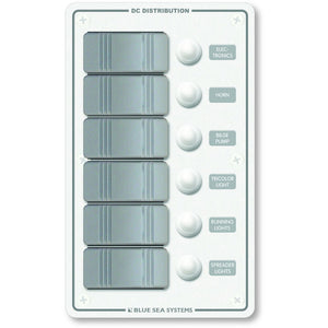 Blue Sea 8273 Water Resistant Panel - 6 Position - White - Vertical