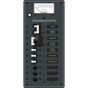 Blue Sea 8489 Breaker Panel - AC 2 Sources + 6 Positions - White
