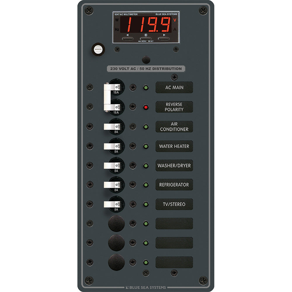 Blue Sea 8506 Breaker Panel - AC Main + 8 Positios (European) - White