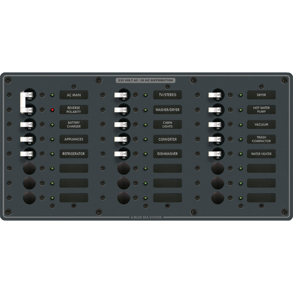 Blue Sea 8565 Breaker Panel - AC Main + 22 Positions (European) - White