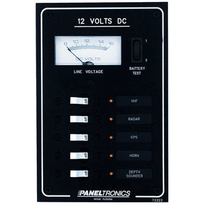 Paneltronics Standard DC 5 Position Breaker Panel & Meter w/LEDs