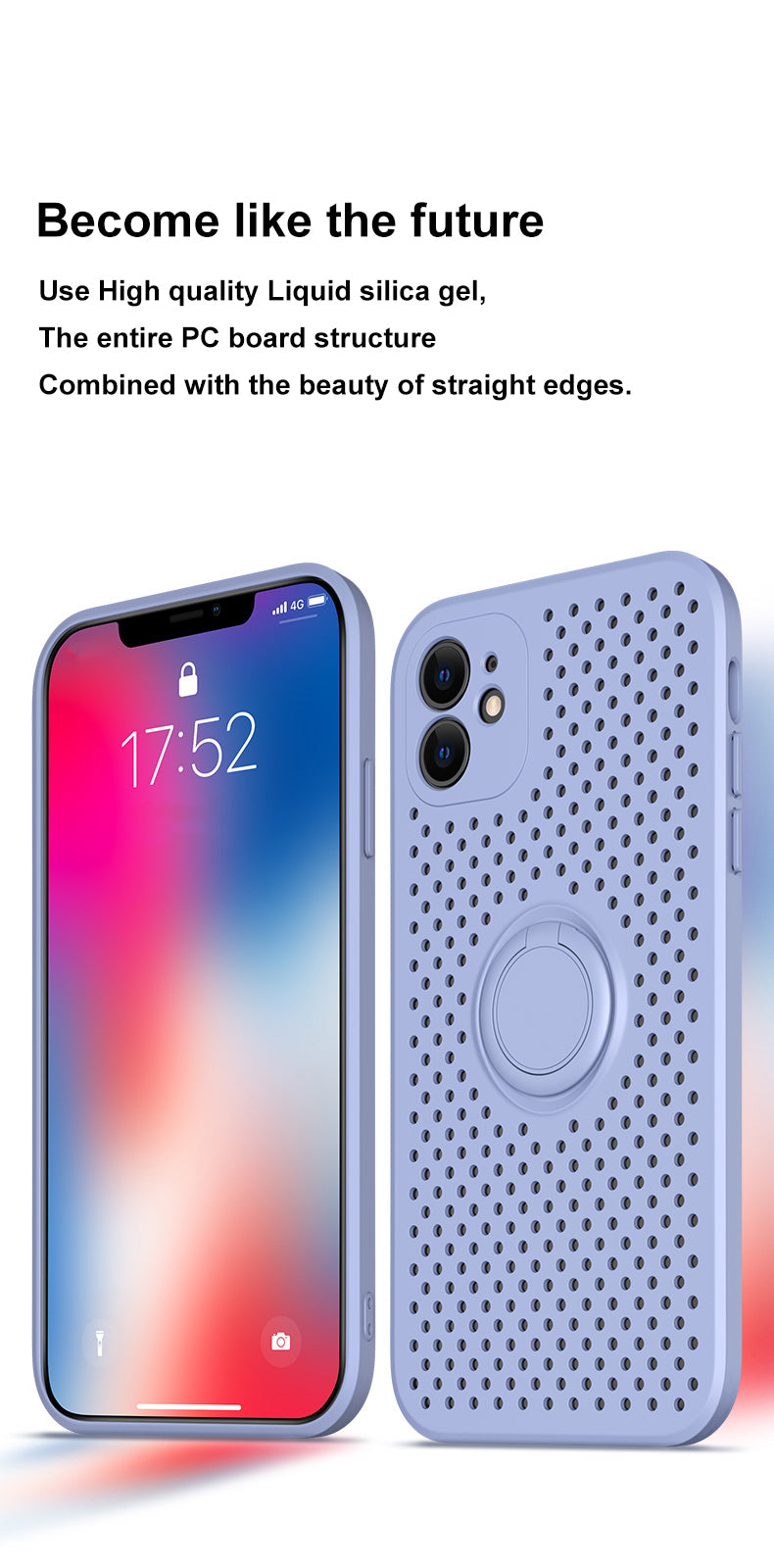 Heat Dissipation Silicone Case With Ring Stand For iPhone 12 Mini