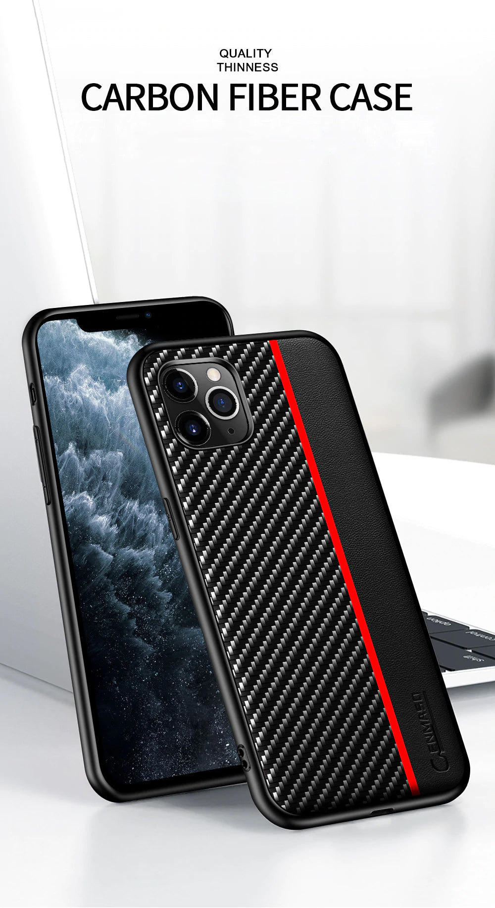Original Carbon Fiber Leather Back Cover for iPhone 12 Pro Max